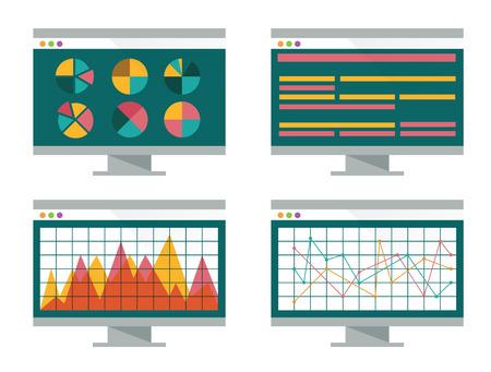 Financial graph on computer screen  flat design  vector