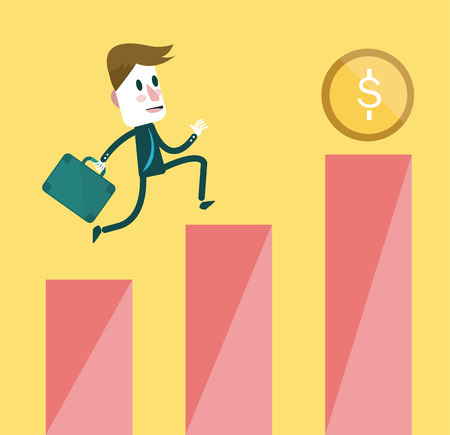 Businessman following a coin to the top of the growth chart of profits  Vector 向量圖像