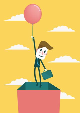 out think: El hombre de negocios, piensa fuera del lado de la caja Concepto Negocios y exitoso concepto de vectores