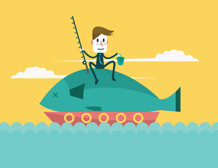 Businessman catch big fish  Business and Successful Concept  Vector 向量圖像