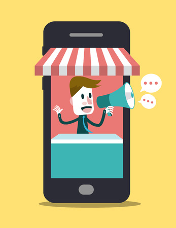 Online store on smart phone  Business and Digital marketing Concept  Vector Ilustração
