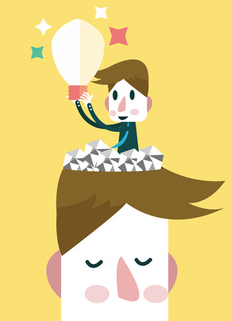 finding: Businessman finding ideas and opportunity inside his head  Business concept  vector