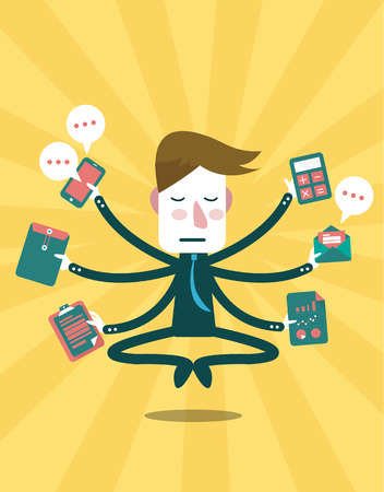 Concentrate businessman in busy day  Businessman and Management concept, vector