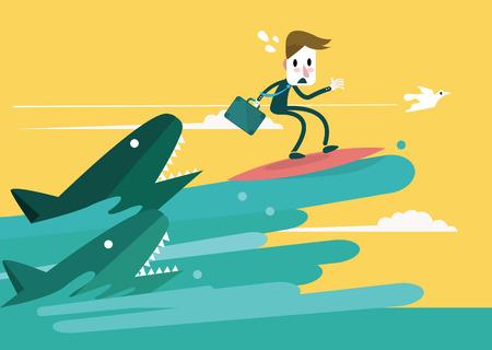 dangerous ideas: Businessman surfing to escape the shark attack  Business Risk concept  Vector