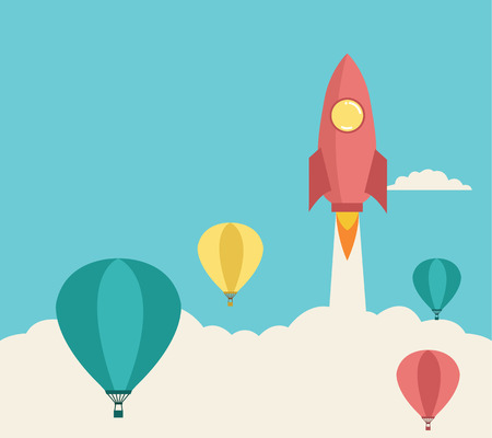 hands in the air: rocket launching over the hot air balloons  Business competition concept  Vector Illustration