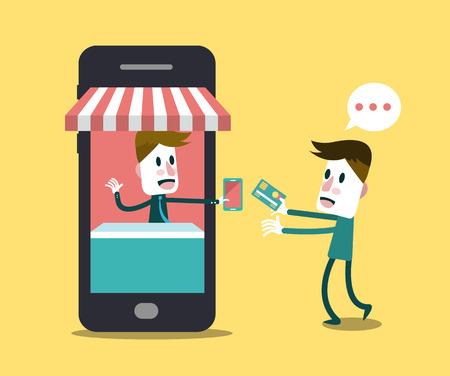 symbols metaphors: Shopping online, Online Store on smart phone  Business and Digital Marketing Concept  Flat Design  Vector