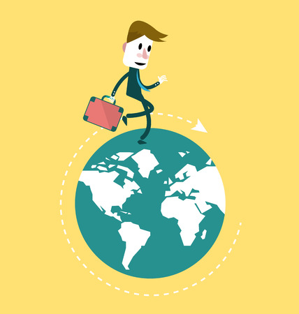 Businessman walking on the globe  business innovation and Development concept  flat vector design