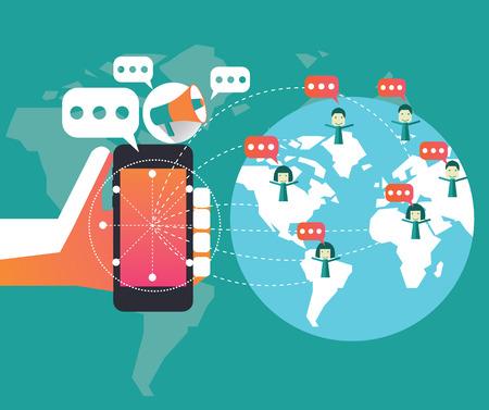 El marketing digital y la red social Concepto de diseño plano elemento Ilustración vectorial