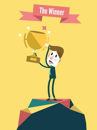 Businessman holding winning trophy  Victory concept  Vector illustration