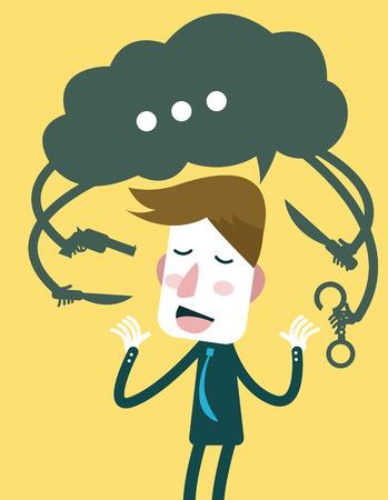 파멸: 사업가 단어 개념 벡터를 망치는 그의 말에 자신을 파괴 일러스트