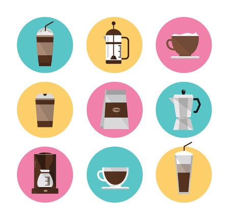 comida arabe: Coffee icons set diseño plano elemento del vector Vectores