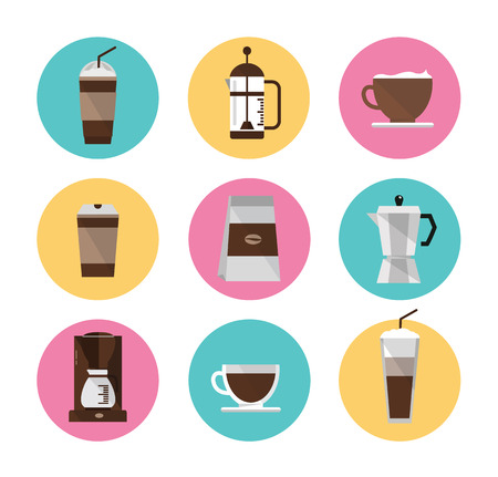 Coffee icons set  flat design element  vector Illustration