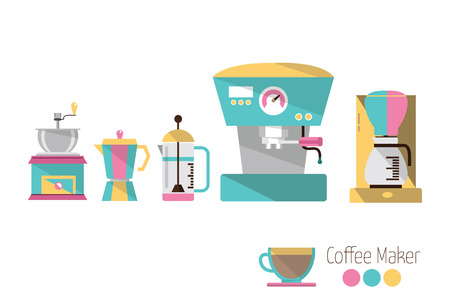 coffee machine: Coffee makers  Colourful flat icons design  vector Illustration