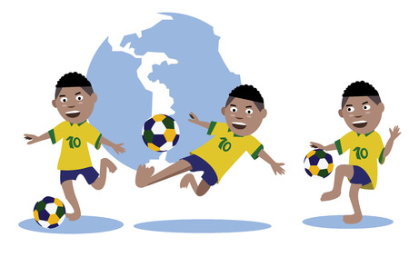 Set of kid play soccer ball  Brazil uniform  Vector