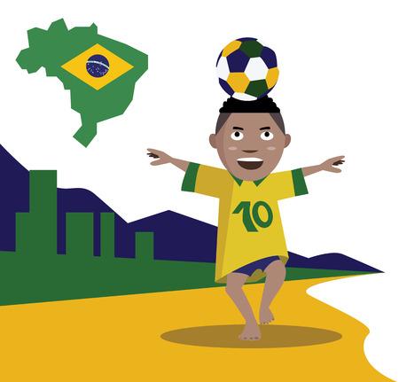 brazil beach: Kid control soccer ball  Brazil beach background  vector