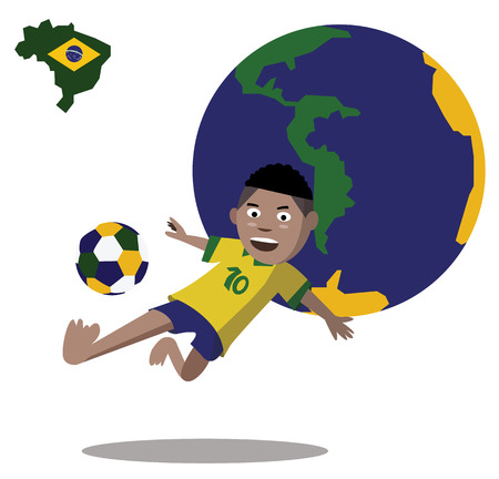 Kid jumps and side kicks the soccer ball  World globe background  vector Vector