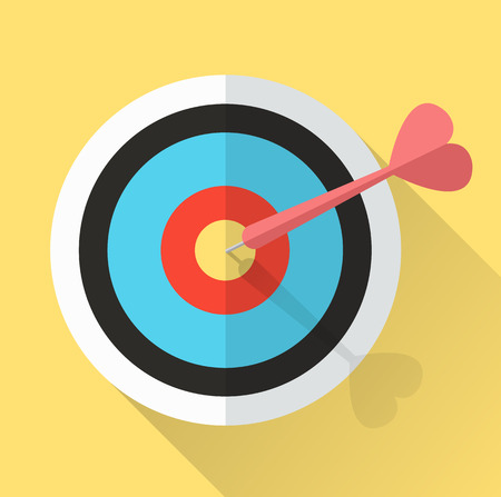 Dart Hitting A Target  lucky in game lucky in love  Business successful concept  vector