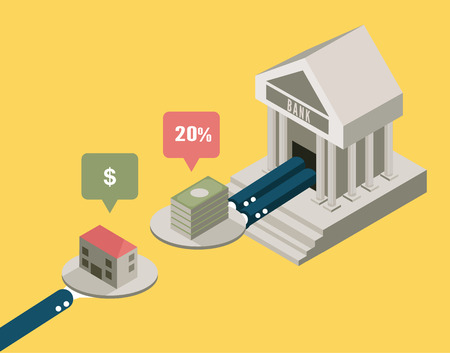 mortgage: Mortgage house to the bank  business concept design  flat elements  vector Illustration