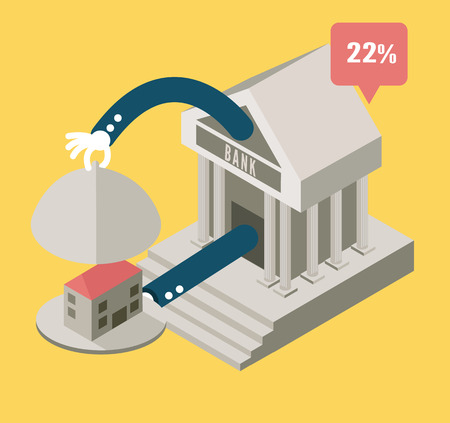 immovable property: Bank serve house  business concept design  flat elements  vector Illustration