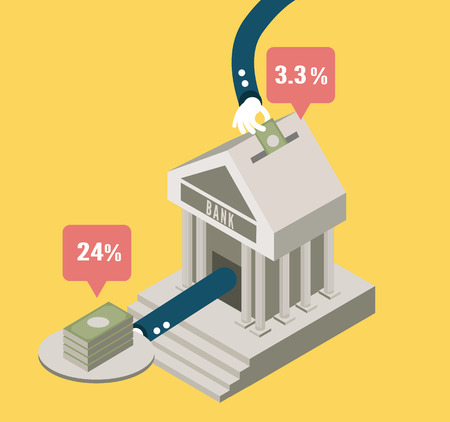 bank rate: Bank stock and investment  concept design  flat elements  vector Illustration