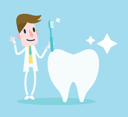 Dentist holding a Toothbrush cleaning a Big Tooth  vector Illustration