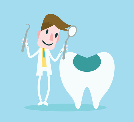 dentist smile: Dentist have a check-up tooth  vector Illustration