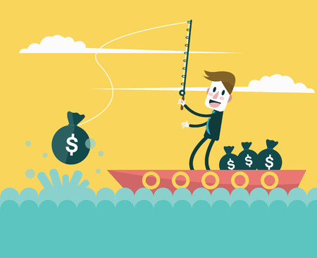 Businessman fishing money  Business and investment concept  vector Vector