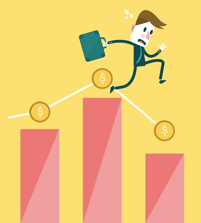 stockbroker: Businessman with falling Down Graph  business and Risk of investment concept  vector