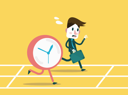 office force: Businessmen racing with clock  Business workforce Concept  flat design element  Vector Illustration