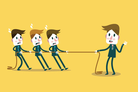 tug war: Powerful Businessman tug of war with many businessmen  Business leadership and competition Concept  flat design element  Vector Illustration