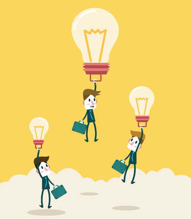 Businessman fly higher with big ideas light bulb  Business leadership and competition Concept  vector