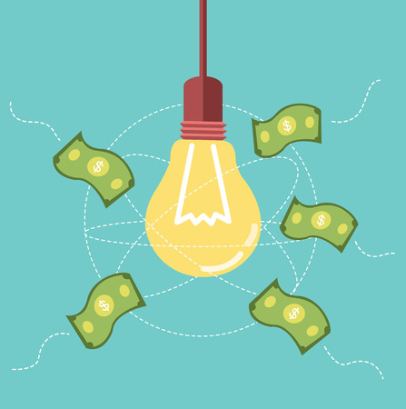 Ideas light bulb attract money to its orbit  business ideas concept  vector Vector