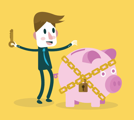 investment concept: Businessman locked piggy bank  Business and investment concept  vector
