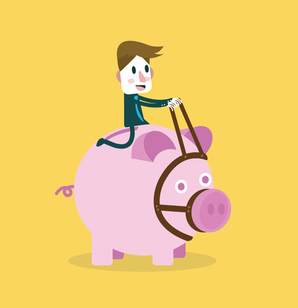 investment concept: Businessman ride and control piggy bank  Business and investment concept  vector Illustration