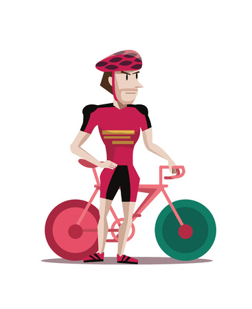 bicyclists: portrait of a strong bicyclist posing next to a bicycle isolated against white background  vector illustration and character design