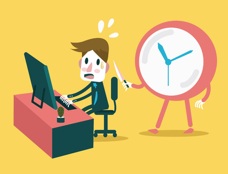threaten: Businessman working in the deadline time with clock threaten  Abstract concept design  vector illustration