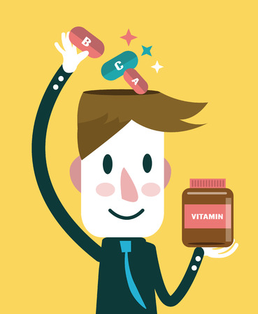 overdose: Businessman putting vitamins in his head  health care concept  vector illustration