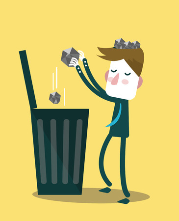 Businessman throw paper waste from his head into trash bin  vector illustration Illustration