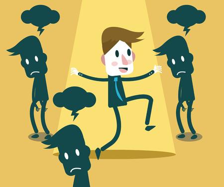 Gelukkige Zakenman geniet van het leven Geluk concept vector illustratie Stock Illustratie