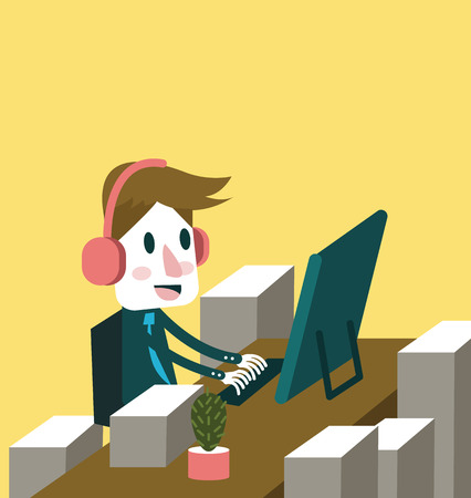 Love my job  Businessman enjoy working   vector illustration