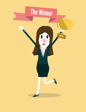 Young businesswoman holds the Winners Trophy  Business Successful and leadership concept  vector illustration 向量圖像