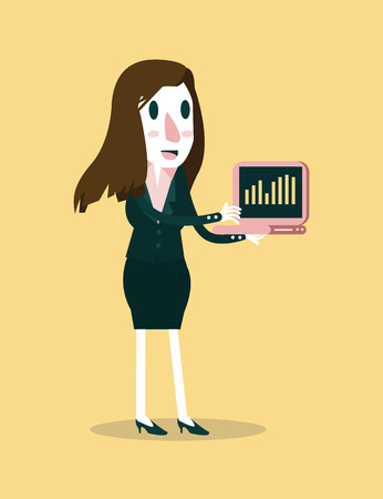 business woman tablet: Young businesswoman showing growth diagram on the laptop  Business and leadership concept  vector illustration
