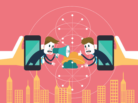 Two businessmen communicate on mobile cloud  business partnership and technology concept  illustration vector Illustration