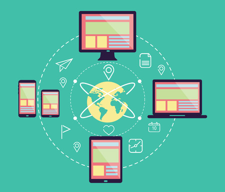 flexible business: Responsive web design in electronic devices  Connect social network  flat design element  vector Illustration