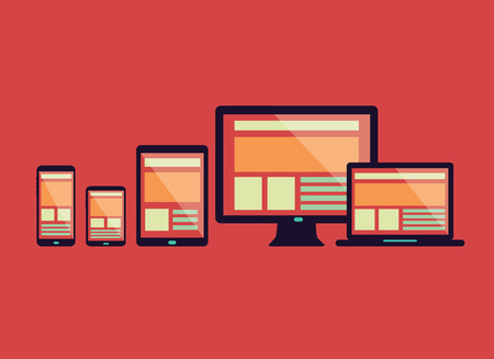Responsive web design in electronic devices  Connect social network  flat design element  vector Vectores