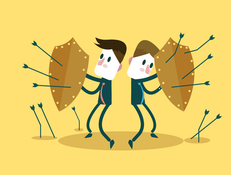 Business Team using shields for self-defense arrows attack  Business risk investment and teamwork concept design  vector illustration