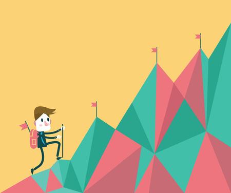 undertake: Businessman climbing hill  business target and leadership concept  flat design element vector