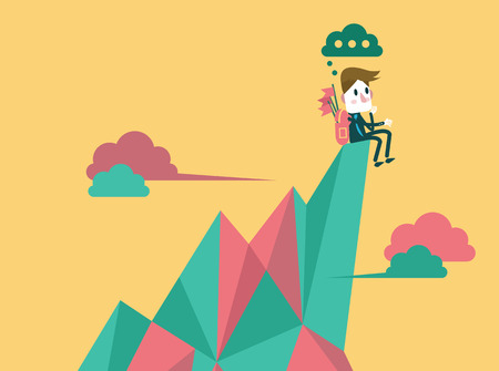 Zakenman op de top piek en het vinden van de volgende doelwit zakelijke doelgroep en leiderschap concept platte design element vector