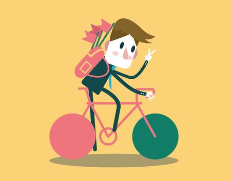 Businessman riding a bike and say hi flat design element\ vector illustration
