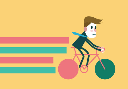 Businessman riding a bike  flat design element  vector illustration Vector
